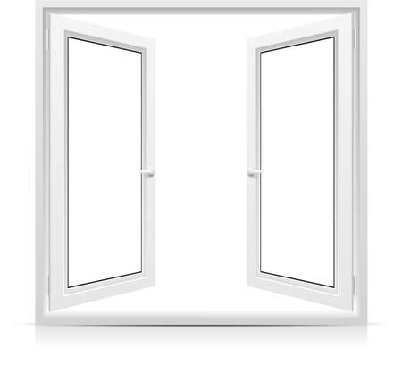Vector opened window isolated on white background