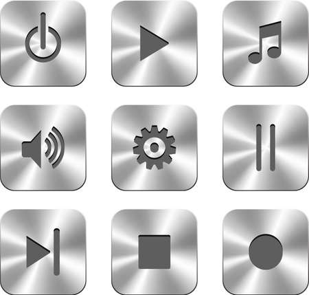 Vector metal buttons for media player.