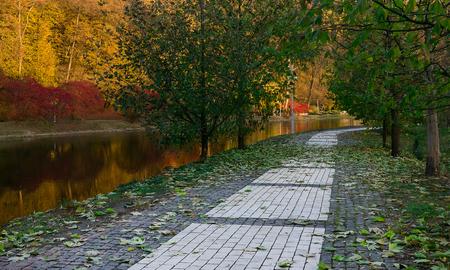 kiev: Alley in autumn park in Kiev day