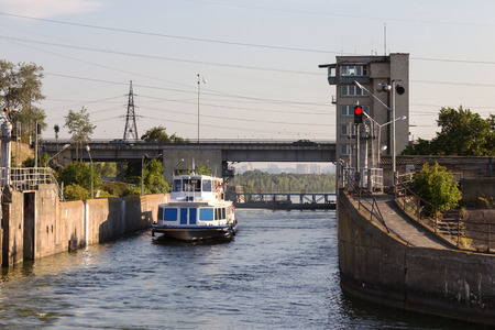 floodgates: Gateway Kiev Sea on the Dnieper with ship waiting for the descent