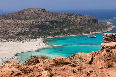 azure: Balos Lagoon and Gramvousa island on Crete, Greece