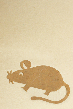 New Year 2020 Mouse  in paper craft natural background