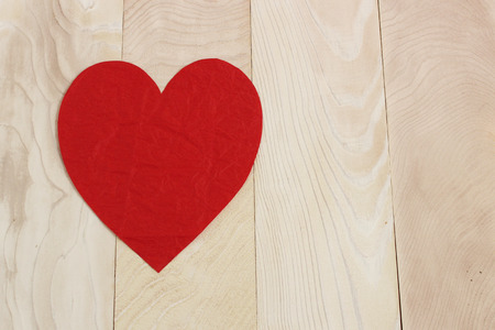 Heart shape  in paper craft natural background