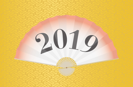 Japanese fan with 2019 on traditional geometric pattern vector background