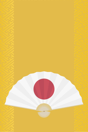 Japanese fan on traditional geometric pattern vector background