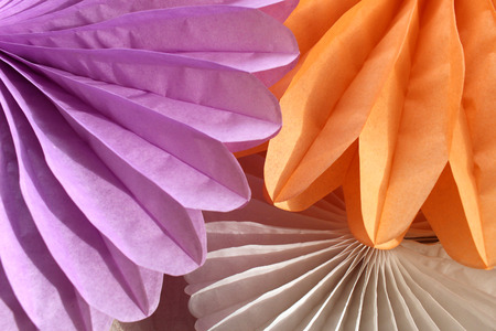 Orange and purple Paper craft fan 스톡 콘텐츠