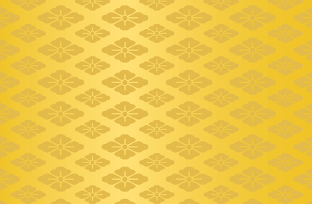 Japanese traditional flower pattern vector background gold