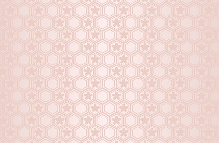 Japanese traditional geometric pattern with Sakura vector background pink