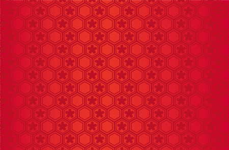 Japanese traditional geometric pattern with Sakura vector background red