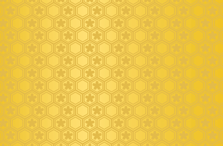 Japanese traditional geometric pattern with Sakura vector background gold
