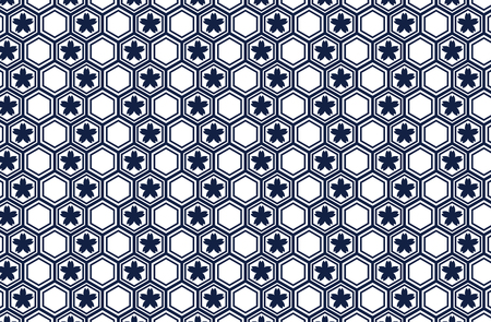 Japanese traditional geometric pattern with Sakura vector background navy blue 일러스트