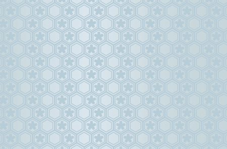 Japanese traditional geometric pattern with Sakura vector background blue