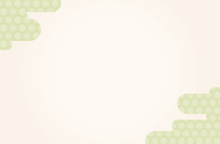Japanese traditional  hexagonal geometric pattern vector frame background green