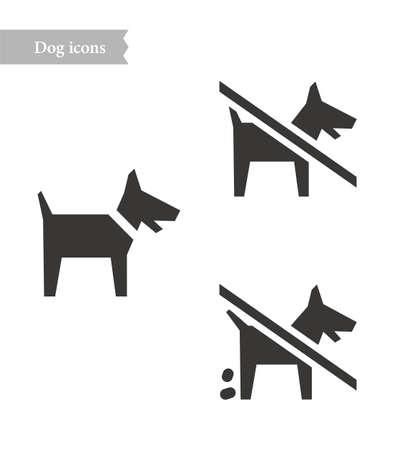 Dog and dog doo icon Illustration