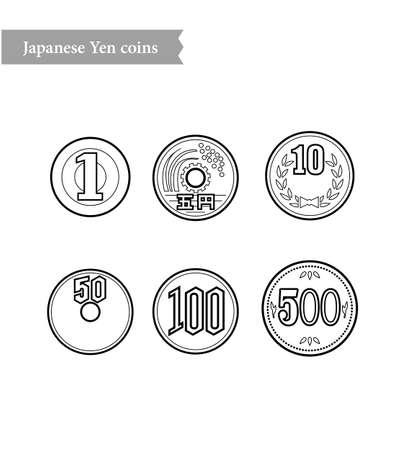 Japanese yen coins bank illustration
