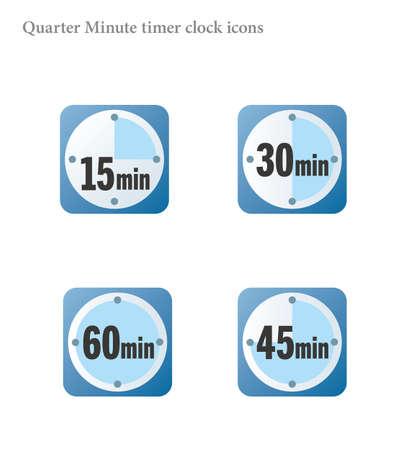 Simple quarter minutes timer clock icon 向量圖像
