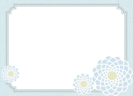 Japanese traditional pattern for kimono color chrysanthemum Flower design frame