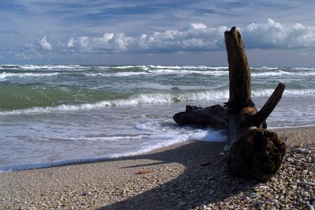 Relitto sulla spiaggia al mare Adriatico Archivio Fotografico - 88936287