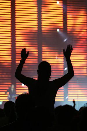 silhouette of fans at rock concert Banco de Imagens