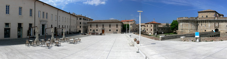 Senigallia - Italy - Panorama of Piazza del Duca with the Rocca Roveresca and Palazzetto Baviera