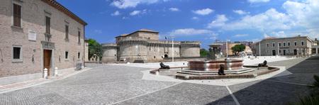 enigallia - Italy - Panorama of Piazza del Duca with the Rocca Roveresca and Palazzetto Baviera Banco de Imagens