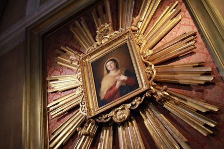 painting of the Holy Virgin Mary in the church of