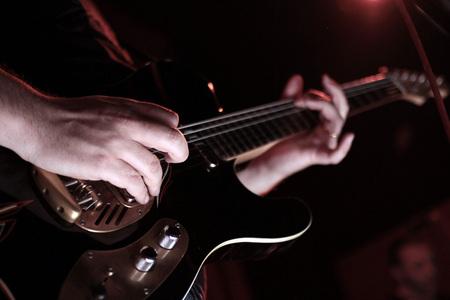 rockabilly guitar at concert - rock'n'roll Archivio Fotografico