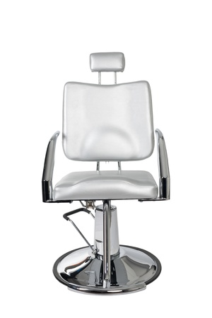 gray hair: Special makeup artist chair isolated on white.