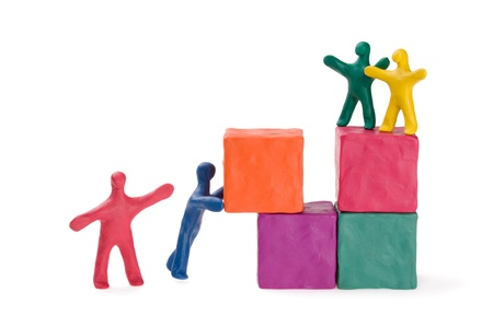 Family at the construction site. PLasticine. Stock Photo - 10301281