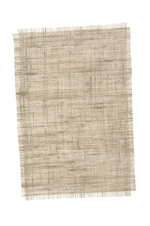 burlap background: Piece sackcloth isolated on a white background.