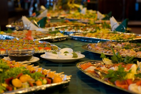 holiday catering: Served a food at a restaurant table.