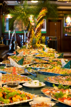 buffet table: Served a food at a restaurant table.
