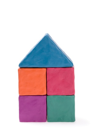 Abstract house of colored plasticine photo