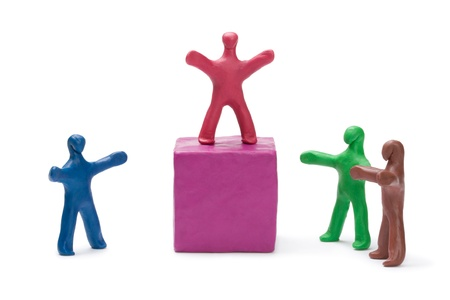 plasticine: Managers work with advertising discuss new project. Stock Photo