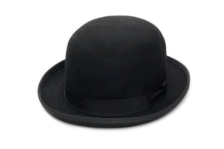 Stylish black bowler hat made of felt. Isolated on a white background. photo