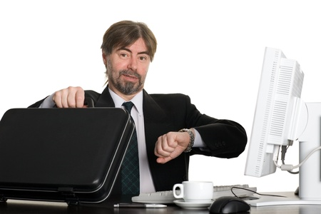 Joyful businessman at the end of working hours. Stock Photo - 10309474