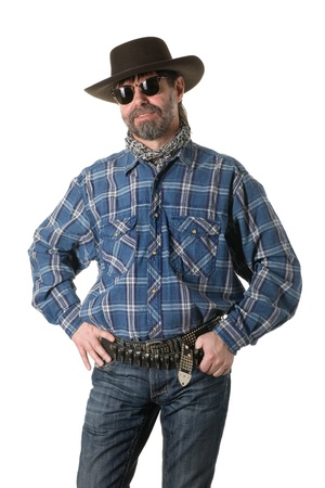 cowboy beard: Middle aged man in a cowboy hat. Stock Photo