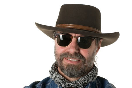 stetson: Middle aged man in a cowboy hat. Stock Photo