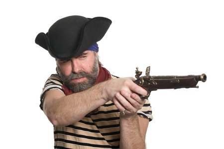 ransack: Bearded pirate in tricorn hat with a musket.