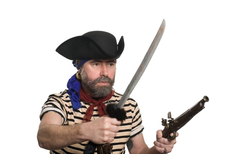 ransack: Terrible pirate tricorn hat with a musket and sword. Stock Photo