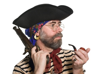 ransack: Pirate with a pipe and a musket. Isolated on white.