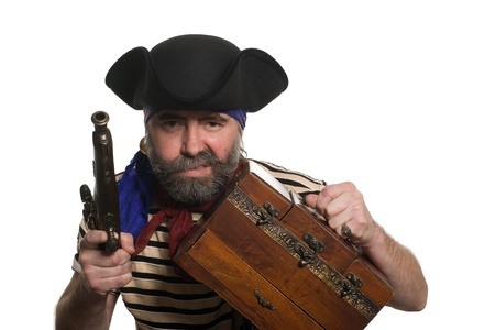 scoundrel: Pirate with a musket holding chest. Isolated on white. Stock Photo