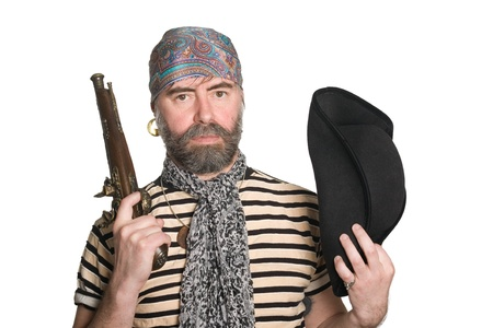 tricorn hat: Bearded pirate with tricorn hat and musket