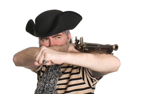 scoundrel: Bearded pirate in tricorn hat shoots a musket.
