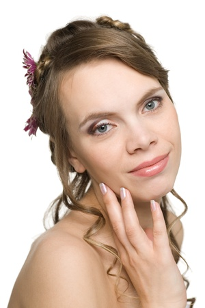 Smiling girl with flowers in their hair and beautiful makeup. Stock Photo - 10319685