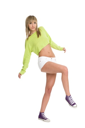 Joyful girl blonde in white shorts. Stock Photo - 10319045