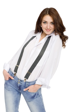 suspenders: Beautiful young woman in jeans with suspenders.