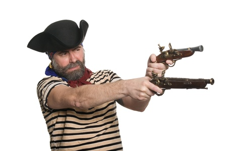 ransack: Terrible bearded pirate in tricorn hat with a muskets. Stock Photo