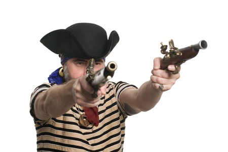 tricorn hat: Pirate in tricorn hat with a muskets.