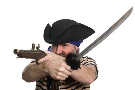 scoundrel: Terribile pirata tricorno con un moschetto e spada.